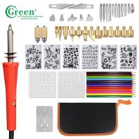 Green PS3301 33 Wood Burning Kit Tips 2 Stencils 12 Colored Pencils Manufactures