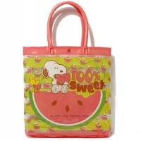 Snoopy pvc tote bag , pvc beach bag with button closure 100% heat seal