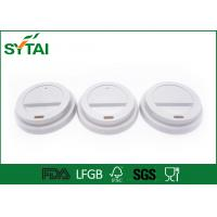 Biodegradable Plastic Paper Cup Covers , Disposable Cup Lids Shapes Customized Manufactures