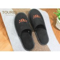 China Black Poly Velour Disposable Spa Slippers Large Disposable House Slippers on sale