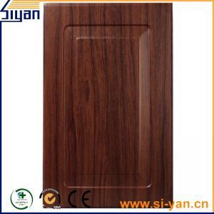 China black wood grain pvc film pressed custom design mdf kitchen cabinet doors on sale