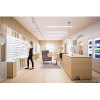 China Raw wood wind of Interior Design for Eye Glasses shop by Natural oak wood Display Counters and White Storage Cabinets on sale