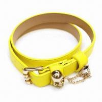 PU belt with skull ornament and chain connection, available in various colors Manufactures