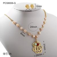 Buy cheap Pearl Gold Or Silver Hollow Flover Stainless Steel Jewelry Set Classic Style from wholesalers