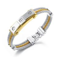 Stainless Steel Three Rows Cable Bangle Bracelets For Men Manufactures