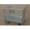 Fold Warehouse Logistics Storage Shelf Cage Galvanized Turnover Box With Wheel for sale