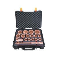 "Spark Proof Socket Set 1"" Drive,Metric,18 pc By Copper Beryllium Manufactures"