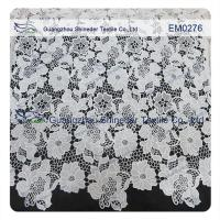 Mesh polyester lace Fabric White Flower  Embroidered Lace material for girls dress Manufactures
