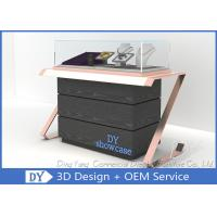 Elegant Comfortable Black Rose Gold Wood Glass Sit Down Jewelry Case With Lights Manufactures
