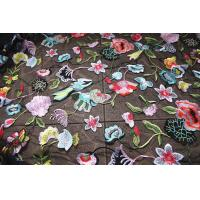 Multi Colored Lace Fabric With Embroidered Florals , Heavy Embroidered Lace Cloth Manufactures