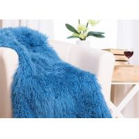 Quality 48 X 72 Inches Large Authentic Mongolian Lamb Fur Blanket , Home Style Lambskin for sale