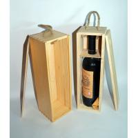 China wooden single bottle wine box with slide lid and cotton/rope handle on sale