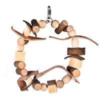natural wooden bird toys block ring with chewing beads and leather for conure Manufactures