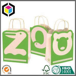 Color Printing Brown Kraft Promotion Bag; Paper Handle Cute Bear Paper Gift Bag Manufactures