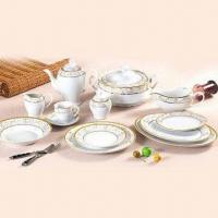 79 Pieces Porcelain Dinnerware with Gold Decal, Customized Designs, Sizes and Shapes are Available Manufactures