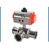 China 3 Way Sanitary Ball Valve , Pneumatic Actuated Ball Valve Welded Connection Type on sale