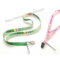 China Exquisite full color phone holder lanyards with metal card clip, sublimation print process on sale