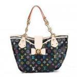 Lady's Black Oxidizing Cowhide Leather Louis Vuitton Monogram Multicolor Handbag Annie GM Manufactures