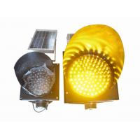 200mm Waterproof Solar LED Traffic Light Durable , Yellow Solar LED Warning Light Manufactures