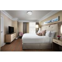 Hotel Standard Double Room Interior design of Furniture in Fabric upholstered headboard and Leather Bed with TV cabinet