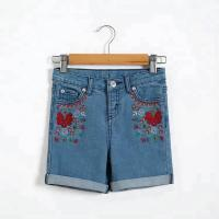 Flower Embroidery Girls Denim Shorts Knee Length With Adjustable Size Waist Manufactures