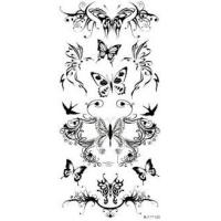 Safety Beautiful removable Flower Design Non - toxic ink Black Temporary Tattoo Body art Manufactures