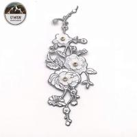 China Wintersweet Flower Iron On Embroidered Patches Beaded Sequin Material For Garment on sale