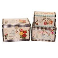 decoration antique vintage square printing leather wooden storage box trunk organizer trunk box Manufactures