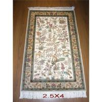 China Pure silk carpet 100% handmade,Flower and birds design, cream color on sale