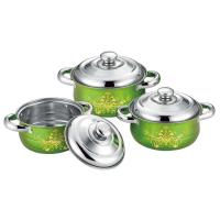 China 6 pcs cookware set red + flower &cookwere set stainless steel &  16/18/20cm colorful stock  pot on sale