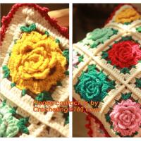 Handmade 100% Cotton Dimensional Flower Crochet Pillow Cushion Cover Decorative Cushion We Manufactures