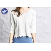 Wavy Edge Womens Knit Pullover Sweater Half Sleeves Short Body Summer Knitwear Manufactures