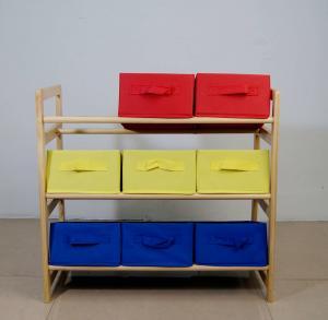 60CM Height Kids Playroom Furniture Toy Organizer With Nine Fabric Storage Bins Manufactures