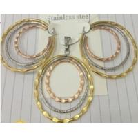 Cheap Costume Jewelry Three Color Fashion 316L Stainless Steel Jewelry Sets for Women Manufactures