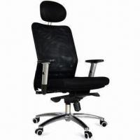 Mesh Office/Director Chair with Headrest, Adjustable PU Arm and Aluminum Alloy Base, Fabric Manufactures