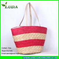 China Hand Plaited Striped Wheat Straw Bags on sale