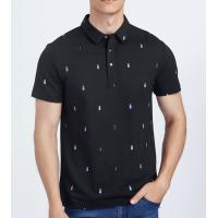 Black Bamboo Cotton Tee Shirts , Custom Printing Golf Polo T Shirts With Pattern Manufactures