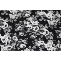 China Black and White Camellia Flower  Printed PU Leather With 100% Viscose Backing Fabric on sale