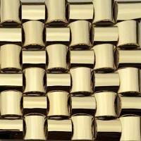 Golden 3D Arched Metallic Mosaic Tiles Trim Stainless Steel Laminate Backsplash Manufactures