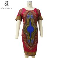 Summer Dashiki African Print Dresses Short Sleeve Round Neck Knee Length Manufactures