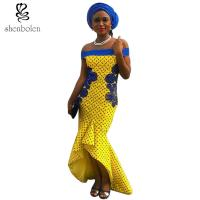 Fashionable African Wear Dresses Slash Neck Ruffles For Women Party Dresses Manufactures