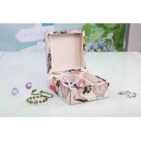 L13*W13*H7CM Modern Wood Furniture Fabric Covered Jewelry Box For Wedding Party Manufactures