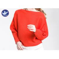 Boat Neck  Womens Knit Pullover Sweater Lady Sexy Drop Shoulder Ottoman Knitted Jumper Manufactures