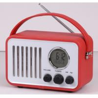 leather retro portable am fm radio with alarm clock calendar temperature function Manufactures