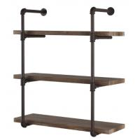 Industrial Pipe Wall Shelf & Hooks , Metal And Wood Display Shelves Polished Manufactures