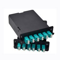 China MPO-24 To 12x LC Duplex , Type AF, 24 Fibers OM3 Multimode FHD MPO Cassette on sale