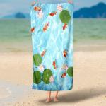 HD Microfiber Beach Towels , Customized Label Printed Bath Towels 70x140cm Manufactures