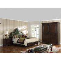 Quality Solid Wood Bedroom set American style BT-2901 Real leather Upholstered headboard for sale