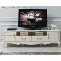 Quality Ivory Classic TV stand wood furniture Audiovisual cabinet in White matt PU for sale