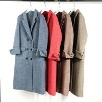 Blue herringbone alpaca double sided wool 10cm herringbone women's overcoat hot sale cheap Manufactures